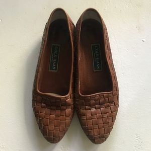Cole Haan Vintage Brown Leather Woven Loafers